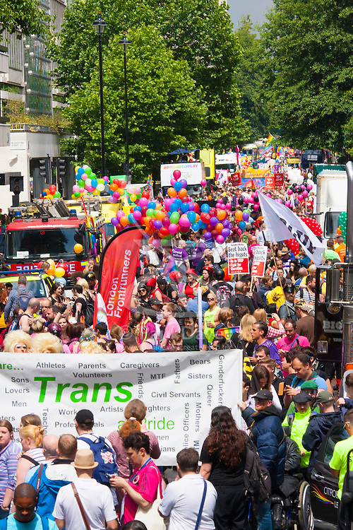 London, June 28th 2014. Gay Pride revellers assemble on Baker Street ahead of the parade.