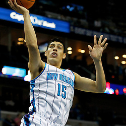 January 16, 2012; New Orleans, LA, USA; New Orleans Hornets power forward Gustavo Ayon (15) against the Portland Trail Blazers during the second quarter of a game at the New Orleans Arena.   Mandatory Credit: Derick E. Hingle-US PRESSWIRE
