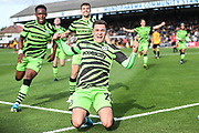 Forest Green Rovers Jack Aitchison(29), on loan from Celtic scores a goal 0-1 and celebrates during the EFL Sky Bet League 2 match between Cambridge United and Forest Green Rovers at the Cambs Glass Stadium, Cambridge, England on 7 September 2019.
