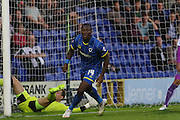 Adebayo Azeez AFC Wimbledon scores during the Johnstone's Paint Trophy match between AFC Wimbledon and Plymouth Argyle at the Cherry Red Records Stadium, Kingston, England on 1 September 2015. Photo by Stuart Butcher.