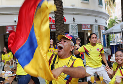 June 19, 2018 - Miami, FL, USA - Rafael Agredo reacts with other fans watching Colombia take on Japan in the first round of the World Cup at Fritz & Franz Bierhaus on Tuesday, June 19, 2018 in Coral Gables, Fla. Japan won 2-1. (Credit Image: © Roberto Koltun/TNS via ZUMA Wire)