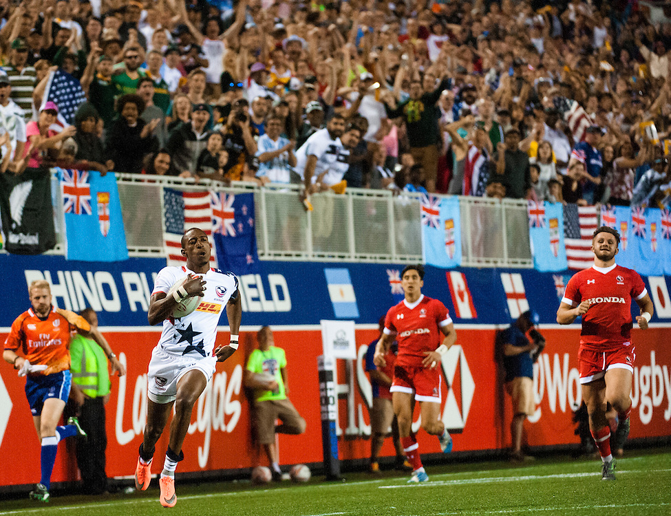 Perry Baker of the United States scores a try during the pool stage of the 2016 USA Sevens leg of the HSBC Sevens World Series at Sam Boyd Stadium  Las Vegas, Nevada. March 4, 2016.<br /> <br /> Jack Megaw for USA Sevens.<br /> <br /> www.jackmegaw.com<br /> <br /> 610.764.3094<br /> jack@jackmegaw.com