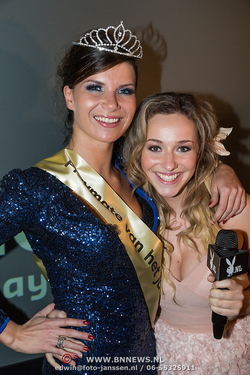 NLD/Amsterdam/20130411 - Bekendmaking Playmate of the Year 2012 NL, winnares Lotte Dancealot met Zimra Geurts