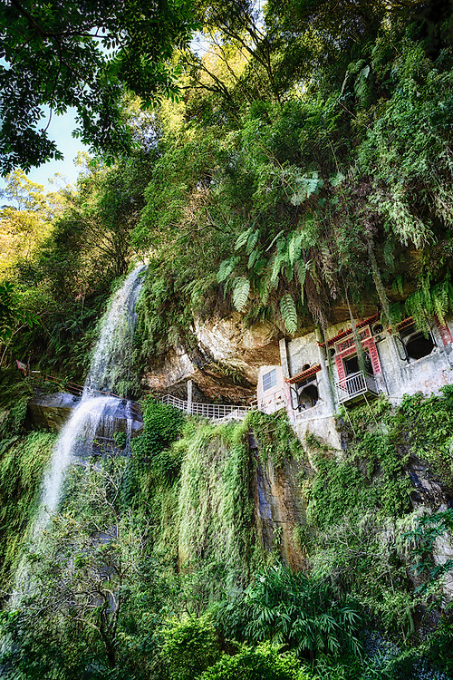 Temple and waterfall at Silver Stream Cave