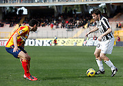 ITALY, Lecce :Del Piero J Brivio L during the Serie A match between Lecce and Juventus at Stadio Via del Mare in Lecce on February 20, 2011. .AFP PHOTO / GIOVANNI MARINO