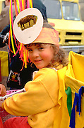 Girl age 3  in costume for In the Heart of the beast parade.  Minneapolis Minnesota USA