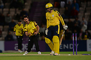 Tim Groenewald of Somerset celebrates the wicket of Liam Dawson of Hampshire during the NatWest T20 Blast South Group match between Hampshire County Cricket Club and Somerset County Cricket Club at the Ageas Bowl, Southampton, United Kingdom on 18 August 2017. Photo by Dave Vokes.