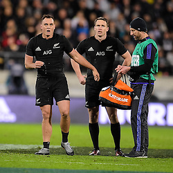 All Black backs, Israel Dagg (L) and Ben Smith (M) share a word with an All Blacks member during the Investec Rugby Championship match between the New Zealand All Blacks and the Australia Wallabies at Westpac Stadium in Wellington, New Zealand on Saturday, 27 August 2016. Photo: Marco Keller / www.lintottphoto.co.nz