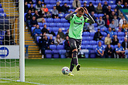 Mitch Pinnock of AFC Wimbledon goal is called offside during the EFL Sky Bet League 1 match between Peterborough United and AFC Wimbledon at London Road, Peterborough, England on 28 September 2019.