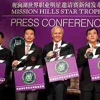 HAIKOU, CHINA - MARCH 18:  (L-R) Fan Xiao-jun, Vice Chairman of China Golf Association and Director of Department of Culture Radio Television Publication and Sports of Hainan Province, Tenniel Chu, Executive Director of Mission Hills Golf Club, Greg Norman, Tournament Ambassador and Zhang Lian-wei, invited Pro for the Star Trophy pose for the media during the press conference for launching of the Mission Hills Star Trophy wich will be played from October 28-31 at the newly launched Mission Hills Resort Hainan on March 18, 2010 in Haikou, China.  Photo by Victor Fraile / studioEAST