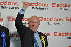 SCOTTISH PARLIAMENTARY ELECTION 2016 &ndash;Gordon MacDonald, Scottish National Party (SNP)winning the Peatlands area vote at the Scottish Parliament Elections, at the Royal Highland Centre, Edinburgh for the counting of votes and declaration of results.<br />