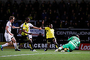 Burton Albion midfielder Lloyd Dyer (11) has his shot saved by Fulham goalkeeper David Button (27) during the EFL Sky Bet Championship match between Burton Albion and Fulham at the Pirelli Stadium, Burton upon Trent, England on 1st February 2017. Photo by Richard Holmes.