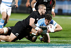 Argentina's Tomas Cubelli, right, tackled by New Zealand's TJ Perenara in the Investic Rugby Championship Test match at Yarrow Stadium, New Plymouth, New Zealand, Saturday, September 09, 2017. Credit:SNPA / Dean Pemberton  **NO ARCHIVING**
