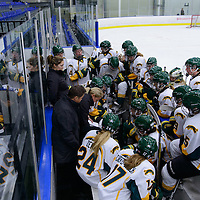 Sarah Hodges, Head coach (19th Season) of the Regina Cougars women's hockey team in action during the Women's Hockey Home Game on October 14 at Co-operators arena. Credit: Arthur Ward/Arthur Images