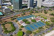 Tennis court, Ala Moana Park, Honolulu, Oahu, Hawaii