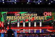 Moderator Wolf Blitzer and US Republican Presidential Candidates from left to right, Ben Carson , Marco Rubio , Donald Trump, Ted Cruz and John Kasich during the Republican Presidential Debate at the University of Houston in Houston, Texas on February 25, 2016.