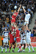 Contested lineout during action from Super 15 rugby (Round 13) - Queensland Reds v Auckland Blues played at Suncorp Stadium, Brisbane, Australia on Friday 13th May 2011 ~ Photo : Steven Hight (AURA Images) / Photosport