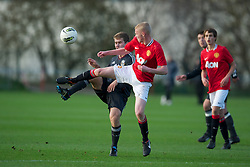 MANCHESTER, ENGLAND - Friday, November 25, 2011: Liverpool's Peter Aylmer in action against Manchester United's James Weir during the FA Premier League Academy match at the Carrington Training Ground. (Pic by David Rawcliffe/Propaganda)