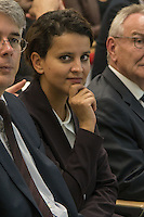 LYON, FRANCE - OCTOBER 10: Najat Vallaud Belkacem, Minister of National Education, Higher Education and Research, speaks at the inaugural tour of the new area of the Faculty of Medicine and maieutic Charles Merieux of Lyon Sud on October 10, 2014 in Lyon, France. (Photo by Bruno Vigneron/Getty Images)