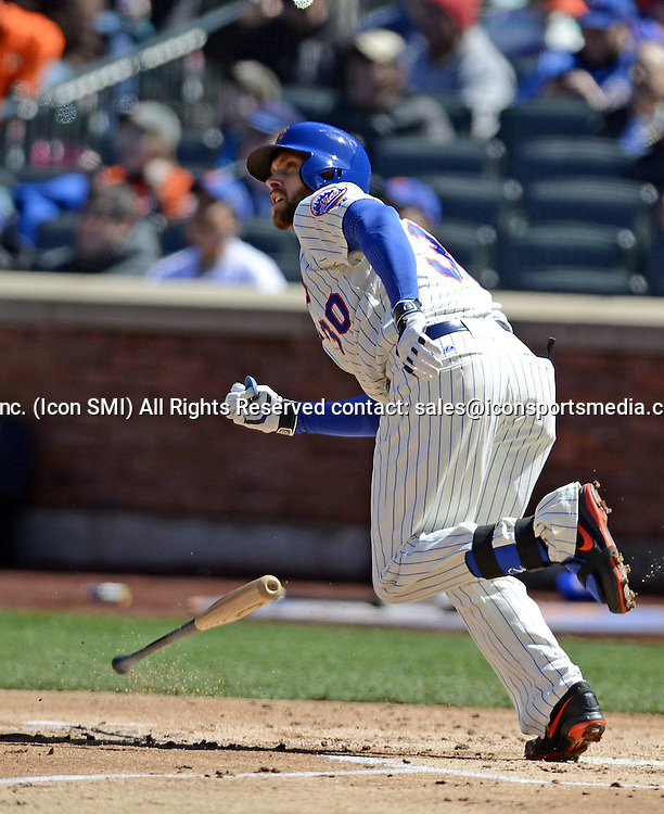 March 31, 2014 - New York, NY, USA - New York Mets' Andrew Brown hits a three-run homer against the Washington Nationals during the first inning on Opening Day at Citi Field in New York on Monday, March 31, 2014