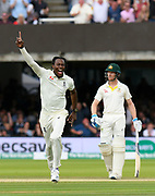 Wicket - Jofra Archer of England celebrates taking the wicket of Usman Khawaja of Australia during the International Test Match 2019 match between England and Australia at Lord's Cricket Ground, St John's Wood, United Kingdom on 18 August 2019.