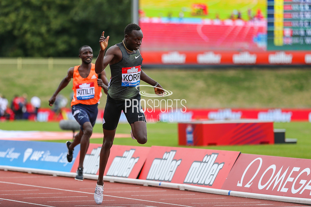 Emmanuel Kipkurui KORIR of Kenya wins the Men's 800m during the Muller Grand Prix 2018 at Alexander Stadium, Birmingham, United Kingdom on 18 August 2018. Picture by Toyin Oshodi.