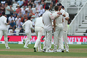 England celebrate the wicket of Cheteshwar Pujara of India during the 3rd International Test Match 2018 match between England and India at Trent Bridge, West Bridgford, United Kingdon on 18 August 2018.