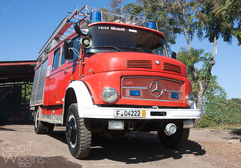 1960s vintage Mercedes 1113 fire truck still in front line service Grenada Nicaragua