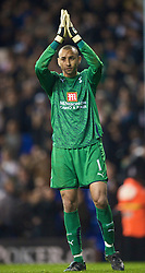 LONDON, ENGLAND - Tuesday, October 27, 2009: Tottenham Hotspur's goalkeeper Heurelho da Silva Gomes during the League Cup 4th Round match against Everton at White Hart Lane. (Photo by David Rawcliffe/Propaganda)