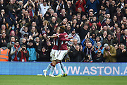 Aston Villa midfielder Conor Hourihane (14) scores a goal and celebrates  1-0 during the EFL Sky Bet Championship match between Aston Villa and Derby County at Villa Park, Birmingham, England on 2 March 2019.