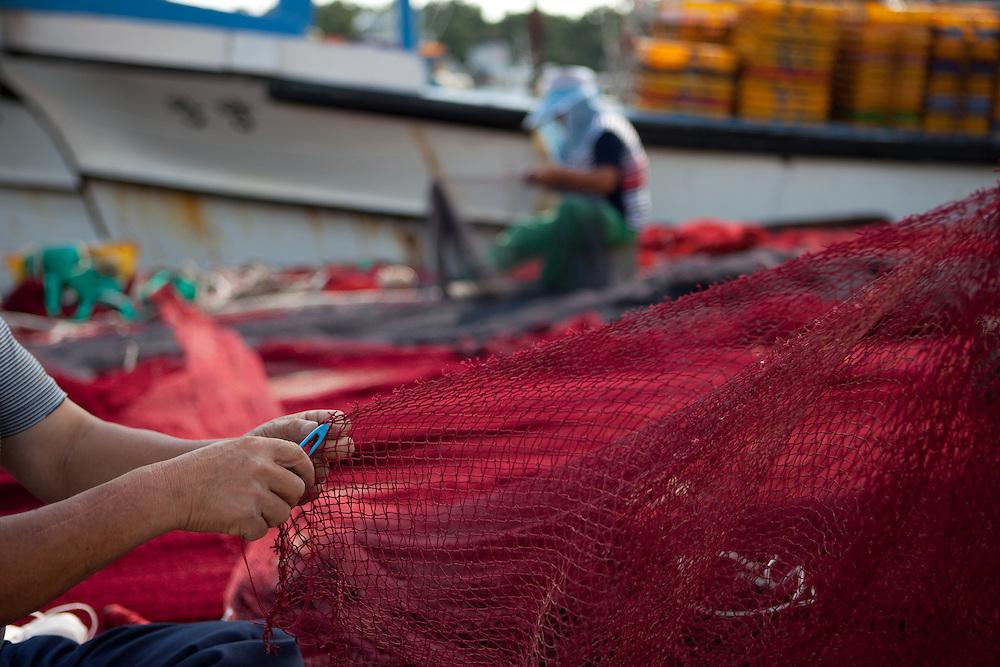Korean fishermen workers repairing fishing net in Pohang harbor / South Korea, Republic of Korea, KOR, 04 October 2009. October 2009: