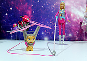 The Star Light Adventure Galaxy Barbie Doll & Hover Cat, which flies through the air, are displayed at the New York Toy Fair, Friday, Feb. 12, 2016.  (Photo by Diane Bondareff/AP Images for Mattel)