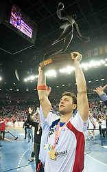 Jerome Fernandez (2) of France celebrates after the 21st Men's World Handball Championship 2009 Gold medal match between National teams of France and Croatia, on February 1, 2009, in Arena Zagreb, Zagreb, Croatia. France won 24:19 and became World Champion 2009.  (Photo by Vid Ponikvar / Sportida)
