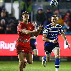 Rob du Preez of Sale Sharks and Will Chudley of Bath Rugby during the Gallagher Premiership match between Bath Rugby and Sale Sharks at the The Recreation Ground Bath England.2nd December 2018,(Photo by Steve Haag Sports)