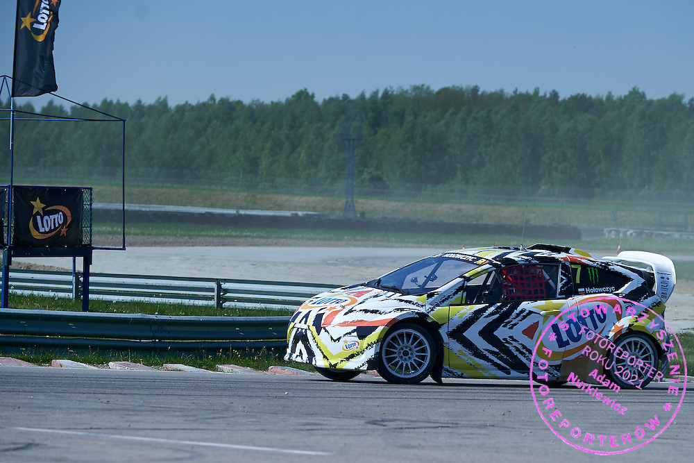 Krzysztof Holowczyc from Poland drives his car rally cross RX Lites during training session on rally cross track on May 19, 2015 in Slomczyn, Poland<br /> <br /> Poland, Slomczyn, May 19, 2015<br /> <br /> Picture also available in RAW (NEF) or TIFF format on special request.<br /> <br /> For editorial use only. Any commercial or promotional use requires permission.<br /> <br /> Adam Nurkiewicz declares that he has no rights to the image of people at the photographs of his authorship.<br /> <br /> Mandatory credit:<br /> Photo by &copy; Adam Nurkiewicz / Mediasport