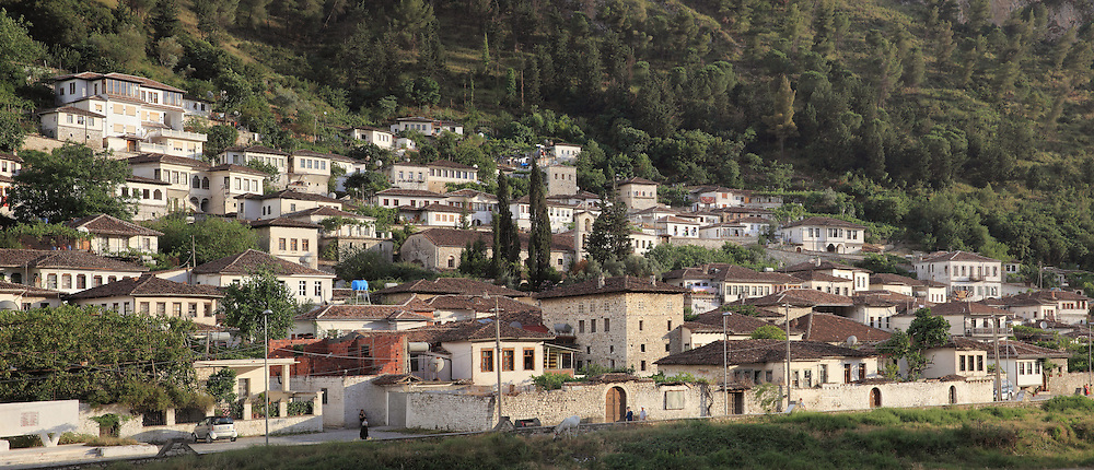 Houses of the Gorica quarter in Berat, South-Central Albania, capital of the District of Berat and the County of Berat. In July 2008, the old town (Mangalem district) was listed as a UNESCO World Heritage Site. Picture by Manuel Cohen