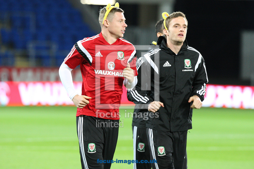 Picture by Mark Hawkins/Focus Images Ltd 07949 023795<br /> 15/11/2013<br /> Simon Church and Andy King pictured during Wales Training at Cardiff City Stadium, Cardiff.