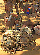 Africa, Ethiopia, Omo River Valley Hamer Tribe handicraft calabash gourds on display