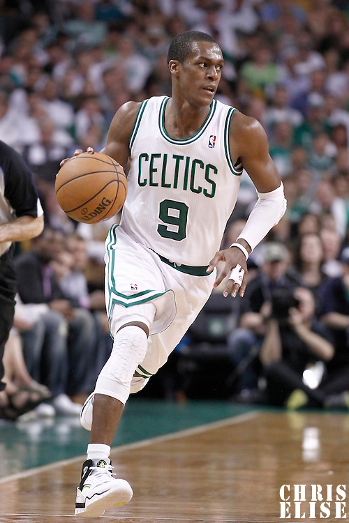 26 May 2012: Boston Celtics point guard Rajon Rondo (9) brings the ball upcourt during the Boston Celtics 85-75 victory over the Philadelphia Sixer, in Game 7 of the Eastern Conference semifinals playoff series, at the TD Banknorth Garden, Boston, Massachusetts, USA.
