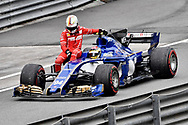 Pascal Wehrlein of Sauber gives Sebastian Vettel of Scuderia Ferrari a lift back to the pits, following his crash, during the Malaysian Formula One Grand Prix at the Sepang International Circuit, Malaysia.<br /> Picture by EXPA Pictures/Focus Images Ltd 07814482222<br /> 01/10/2017<br /> *** UK &amp; IRELAND ONLY ***<br /> <br /> EXPA-EIB-171001-0241.jpg