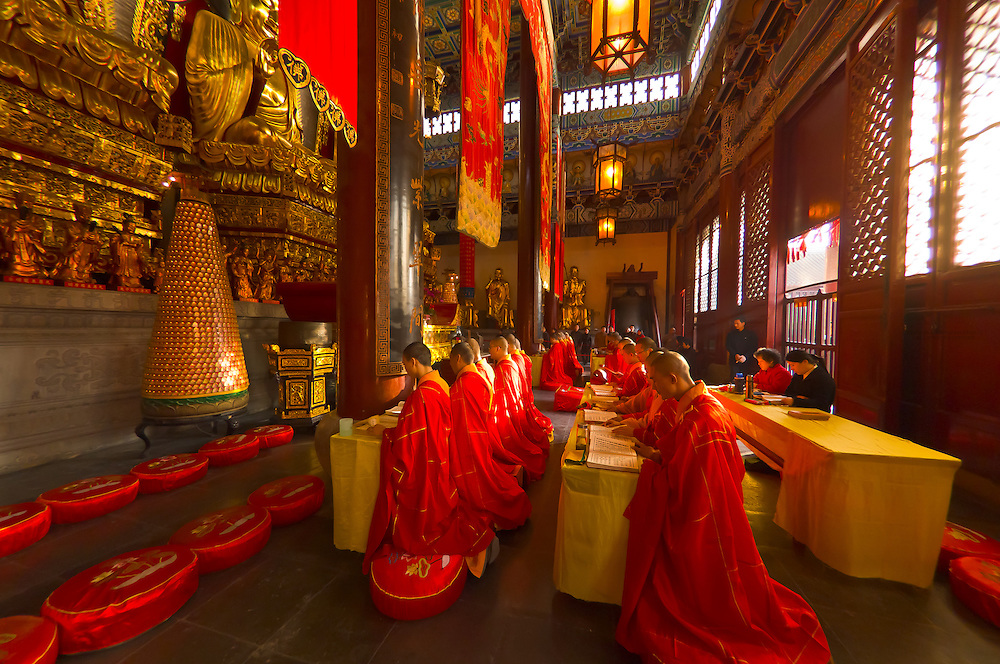 Buddhist monks praying, Jinshan Temple, Jinshan Park, Zhenjiang, China