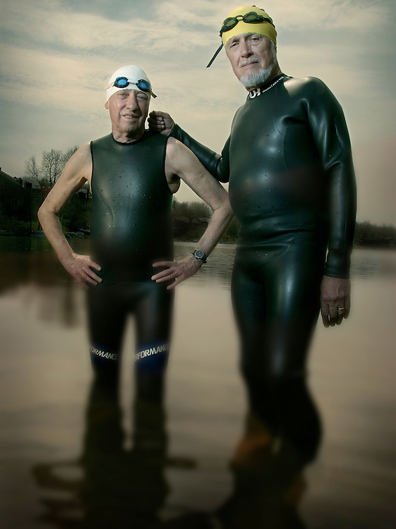 "Senior Triathletes"" Harry Bratt aged 75 and Russ Preble aged 73."