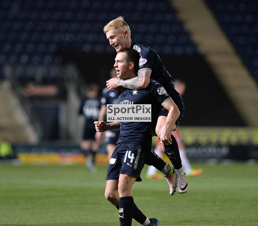 Louis Longridge (Falkirk) celebrates with Craig Sibbald (Falkirk) after scoring Falkirk's third goal during the Scottish Championship match between Falkirk and Brechin City at the Falkirk Stadium, where the home side boosted their play-off hopes with a vital win.<br /> <br /> <br /> (c) Dave Johnston | SportPix.org.uk