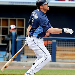 Mar 2, 2013; Port Charlotte, FL, USA; Tampa Bay Rays third baseman Evan Longoria (3) flies out against the Baltimore Orioles during the bottom of the first inning of a spring training game at Charlotte Sports Park. Mandatory Credit: Derick E. Hingle-USA TODAY Sports