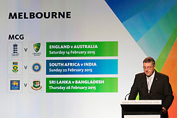 © Licensed to London News Pictures. 30/7/2013. CEO of the ICC cricket world cup 2015 John Harden announces matches featuring England during the official launch of the I.C.C Cricket World Cup to be held in Australia and New Zealand in 2015, Melbourne, Australia. Photo credit : Asanka Brendon Ratnayake/LNP