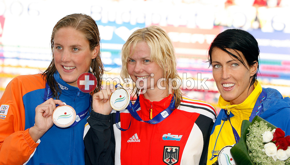 (L-R) Marleen Veldhius of the Netherlands wins the bronze medal, Britta Steffen of Germany wins the gold medal and Therese Alshammar of Sweden wins the silver medal in the women's 50m Freestyle final at the European Swimming Championships on August 6, 2006 in Budapest, Hungary. (Photo by Patrick B. Kraemer / MAGICPBK)