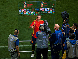 MOSCOW, RUSSIA - Sunday, July 1, 2018: Adios... Spain's Sergio Ramos gives a post-match flash interview after losing 4-3 on penalties during the FIFA World Cup Russia 2018 Round of 16 match between Spain and Russia at the Luzhniki Stadium. (Pic by David Rawcliffe/Propaganda)