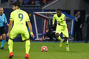 Ousmane Dembele of Barcelona and Luis Suárez of Barcelona during the UEFA Champions League, round of 16, 1st leg football match between Olympique Lyonnais and FC Barcelona on February 19, 2019 at Groupama stadium in Decines-Charpieu near Lyon, France - Photo Romain Biard / Isports / ProSportsImages / DPPI