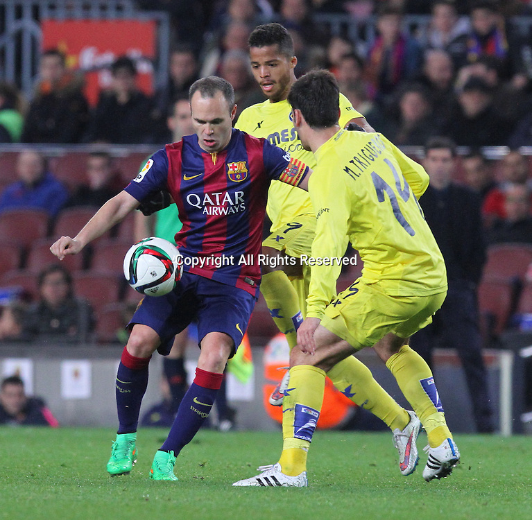 11.02.2015 Barcelona, Spain. Spanish Cup , Semi-final.  Andres Iniesta in action during game between FC Barcelona against Villareal at Camp Nou