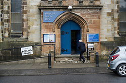 Pictured: Voters want to make their choices eraly in Penicuik.<br /> <br /> The North Kirk in Penicuik has been transformed into a voting station for the Scottish Election. Early rises select their choices before heading off to work.<br /> <br /> <br /> <br /> Ger Harley | EEm 5 May 2016
